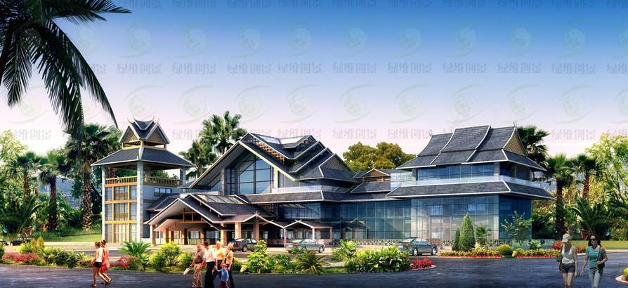 屋顶采用傣族建筑的典型三段式人字形屋帽